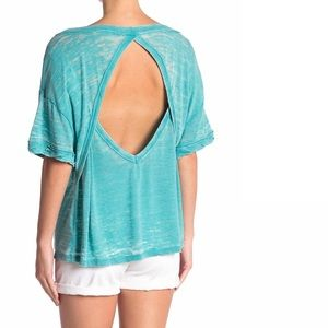NWT Free People Viola Open Back Aqua T-shirt L